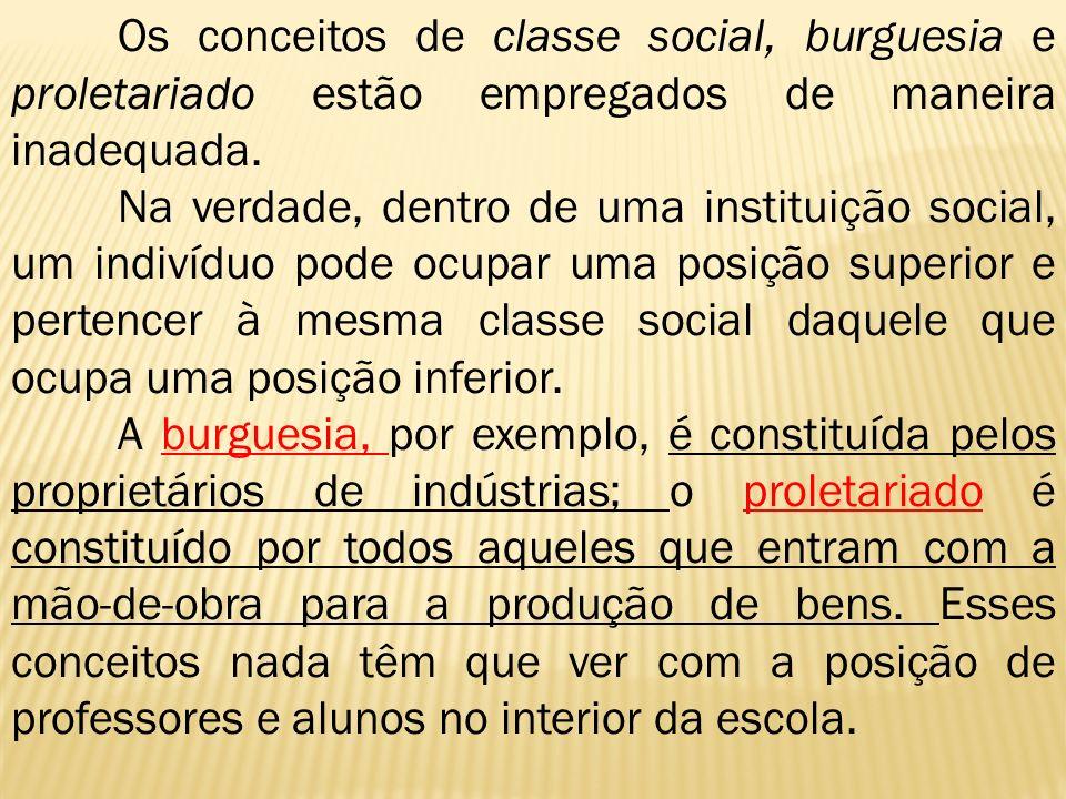 Os conceitos de classe social, burguesia e proletariado estão empregados de maneira inadequada. Na verdade, dentro de uma instituição social, um indiv