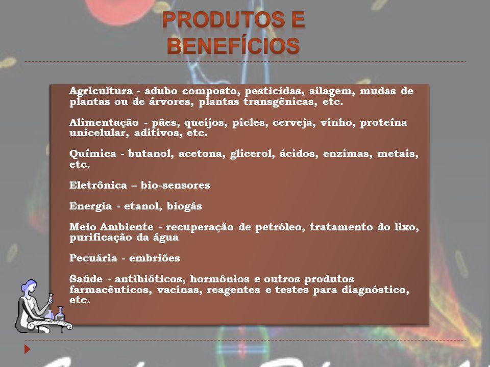 Agricultura - adubo composto, pesticidas, silagem, mudas de plantas ou de árvores, plantas transgênicas, etc. Alimentação - pães, queijos, picles, cer
