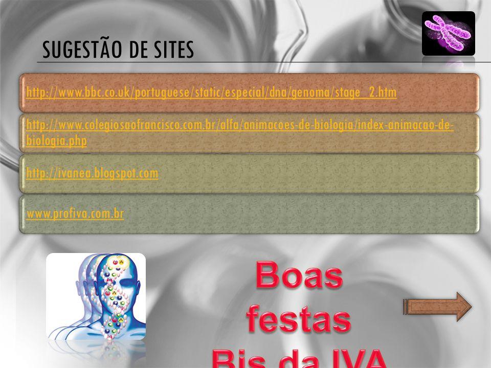 SUGESTÃO DE SITES http://www.bbc.co.uk/portuguese/static/especial/dna/genoma/stage_2.htm http://www.colegiosaofrancisco.com.br/alfa/animacoes-de-biolo