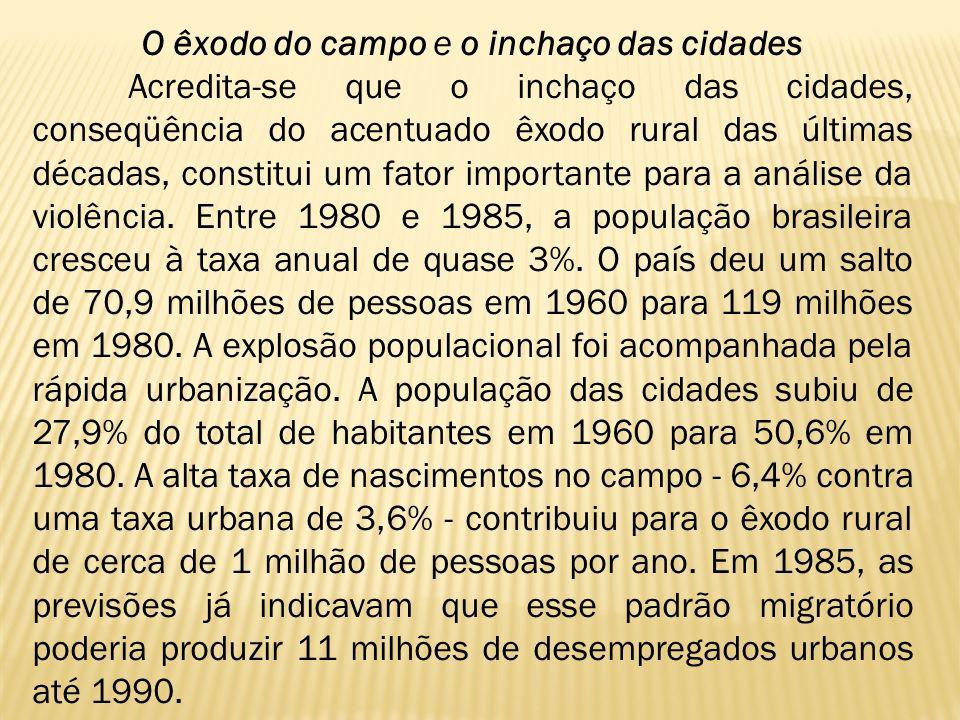 O êxodo do campo e o inchaço das cidades Acredita-se que o inchaço das cidades, conseqüência do acentuado êxodo rural das últimas décadas, constitui u