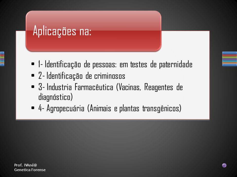 1- Identificação de pessoas: em testes de paternidade 2- Identificação de criminosos 3- Industria Farmacêutica (Vacinas, Reagentes de diagnóstico) 4-