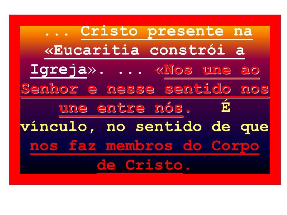 Eucaristia, antídoto para a ameaça do individualismo A Eucaristia, antídoto para a ameaça do individualismo; segundo Ratzinger Conhecemos a força da v