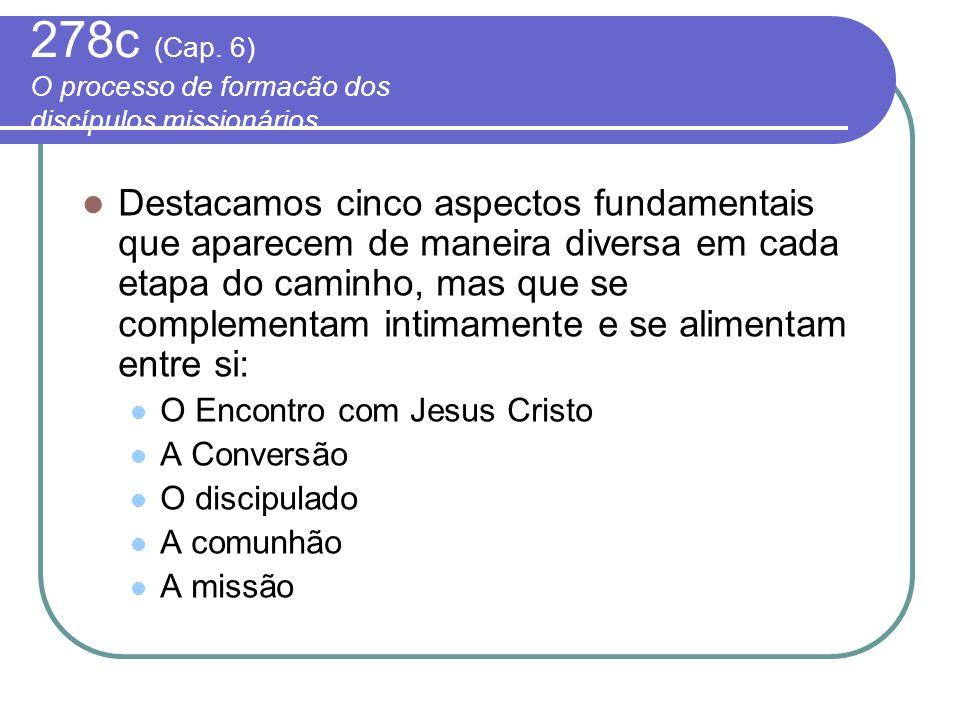 278c (Cap. 6) O processo de formacão dos discípulos missionários Destacamos cinco aspectos fundamentais que aparecem de maneira diversa em cada etapa