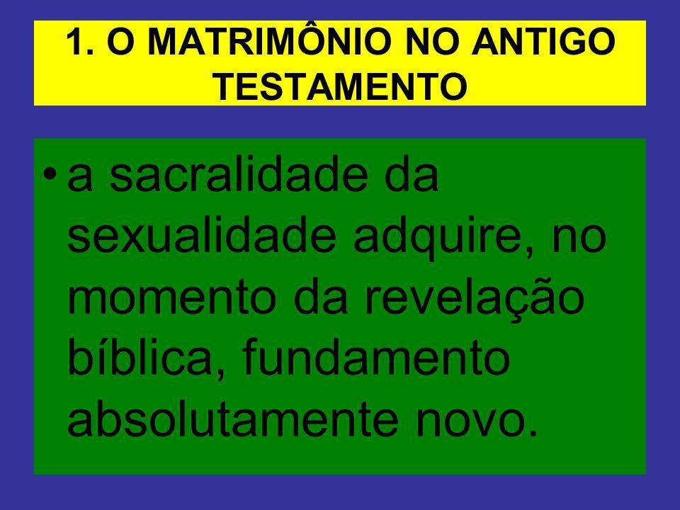 1. O MATRIMÔNIO NO ANTIGO TESTAMENTO a sacralidade da sexualidade adquire, no momento da revelação bíblica, fundamento absolutamente novo.