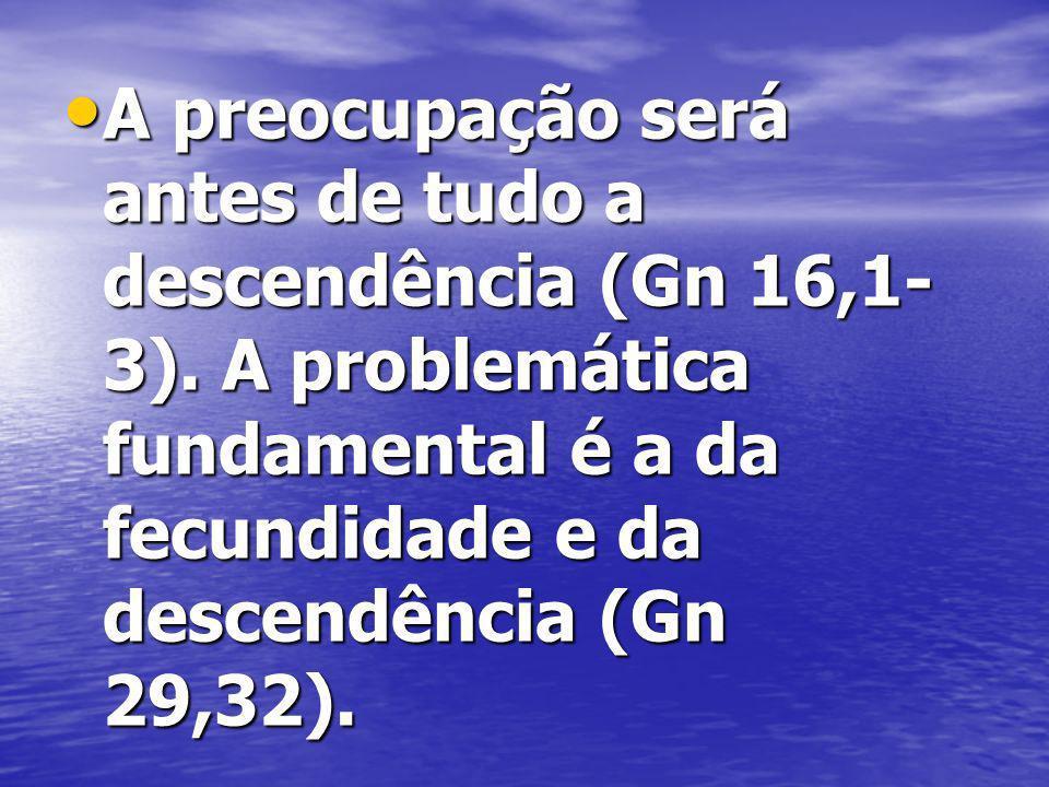 A preocupação será antes de tudo a descendência (Gn 16,1- 3).