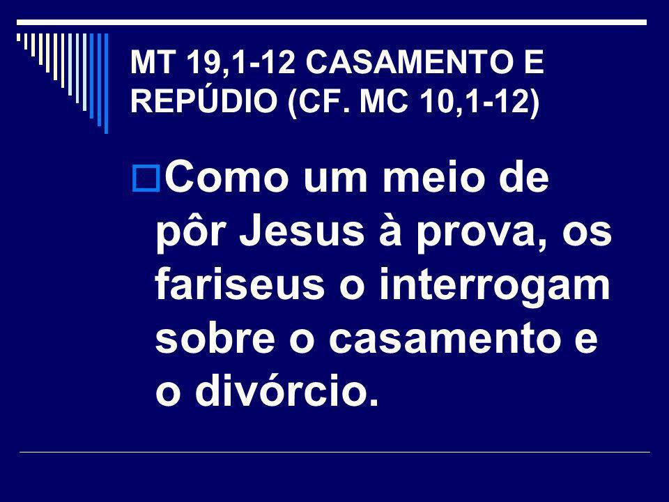 MT 19,1-12 CASAMENTO E REPÚDIO (CF.