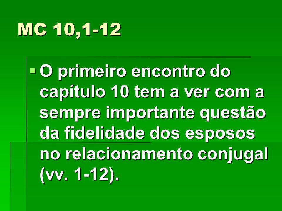 MC 10,1-12 O primeiro encontro do capítulo 10 tem a ver com a sempre importante questão da fidelidade dos esposos no relacionamento conjugal (vv.
