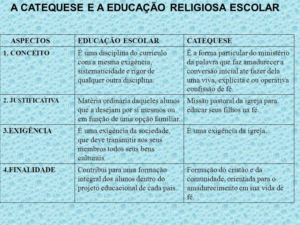 A CATEQUESE E A EDUCAÇÃO RELIGIOSA ESCOLAR ASPECTOSEDUCAÇÃO ESCOLARCATEQUESE 1. CONCEITO É uma disciplina do currículo com a mesma exigência, sistemat