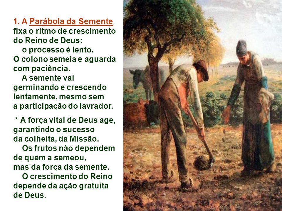 1.A Parábola da Semente fixa o ritmo de crescimento do Reino de Deus: o processo é lento.