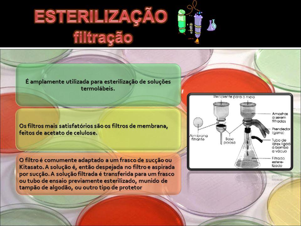 É amplamente utilizada para esterilização de soluções termolábeis. Os filtros mais satisfatórios são os filtros de membrana, feitos de acetato de celu