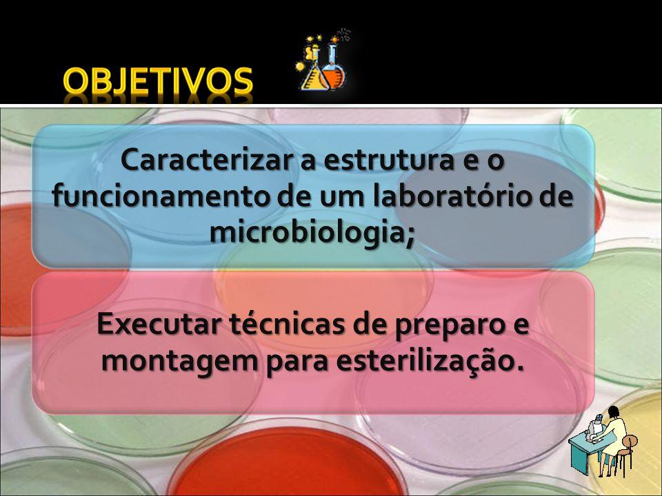 Caracterizar a estrutura e o funcionamento de um laboratório de microbiologia; Executar técnicas de preparo e montagem para esterilização.