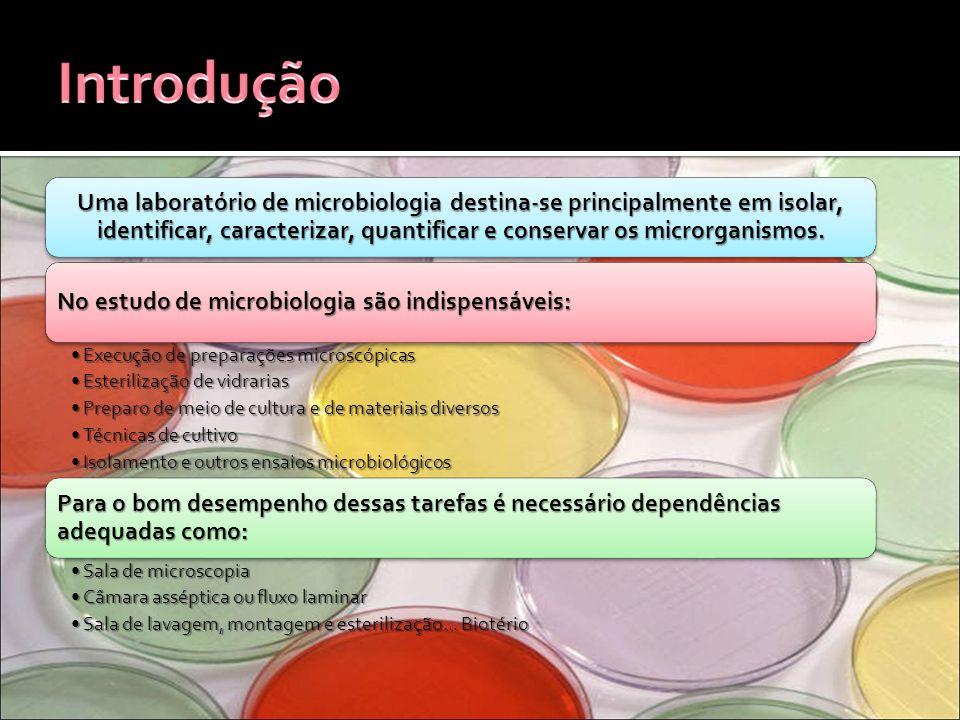 Uma laboratório de microbiologia destina-se principalmente em isolar, identificar, caracterizar, quantificar e conservar os microrganismos. No estudo