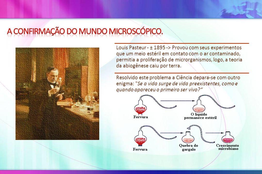 Louis Pasteur - ± 1895 -> Provou com seus experimentos que um meio estéril em contato com o ar contaminado, permitia a proliferação de microrganismos,