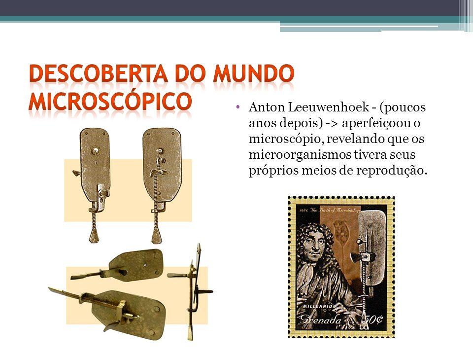 Anton Leeuwenhoek - (poucos anos depois) -> aperfeiçoou o microscópio, revelando que os microorganismos tivera seus próprios meios de reprodução.