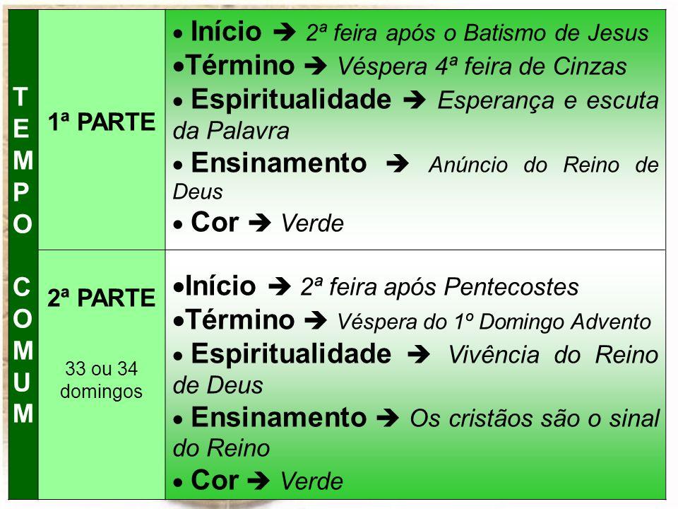 TEMPO COMUMTEMPO COMUM 1ª PARTE 2ª PARTE 33 ou 34 domingos Início 2ª feira após o Batismo de Jesus Término Véspera 4ª feira de Cinzas Espiritualidade