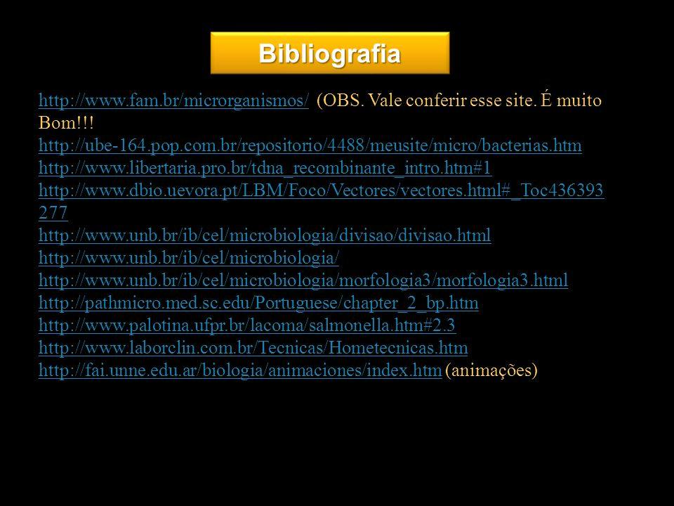 BibliografiaBibliografia 22 http://www.fam.br/microrganismos/http://www.fam.br/microrganismos/ (OBS. Vale conferir esse site. É muito Bom!!! http://ub