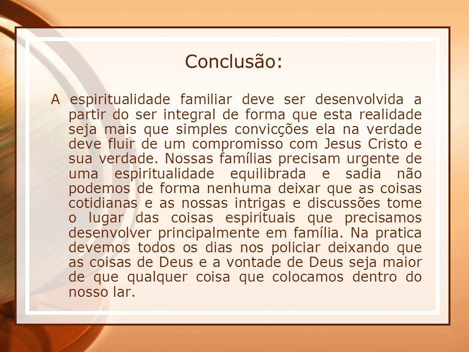 Conclusão: A espiritualidade familiar deve ser desenvolvida a partir do ser integral de forma que esta realidade seja mais que simples convicções ela