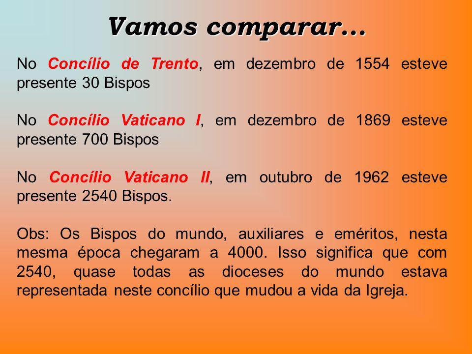 Vamos comparar... No Concílio de Trento, em dezembro de 1554 esteve presente 30 Bispos No Concílio Vaticano I, em dezembro de 1869 esteve presente 700