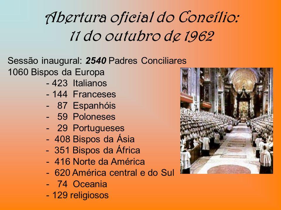 Abertura oficial do Concílio: 11 do outubro de 1962 Sessão inaugural: 2540 Padres Conciliares 1060 Bispos da Europa - 423 Italianos - 144 Franceses -