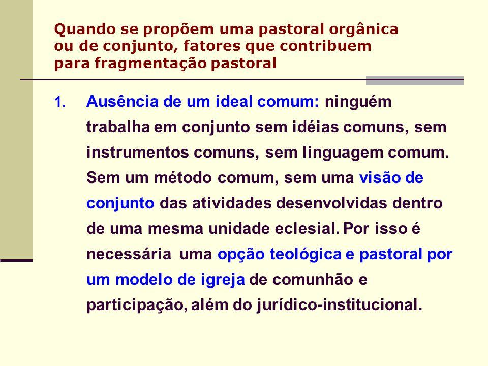 Quando se propõem uma pastoral orgânica ou de conjunto, fatores que contribuem para fragmentação pastoral 1. Ausência de um ideal comum: ninguém traba