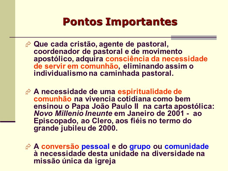 Pontos Importantes Que cada cristão, agente de pastoral, coordenador de pastoral e de movimento apostólico, adquira consciência da necessidade de serv