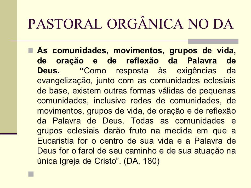 PASTORAL ORGÂNICA NO DA As comunidades, movimentos, grupos de vida, de oração e de reflexão da Palavra de Deus. Como resposta às exigências da evangel
