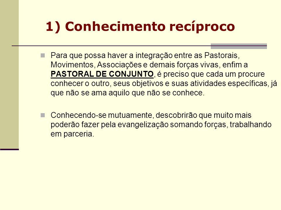 1) Conhecimento recíproco Para que possa haver a integração entre as Pastorais, Movimentos, Associações e demais forças vivas, enfim a PASTORAL DE CON
