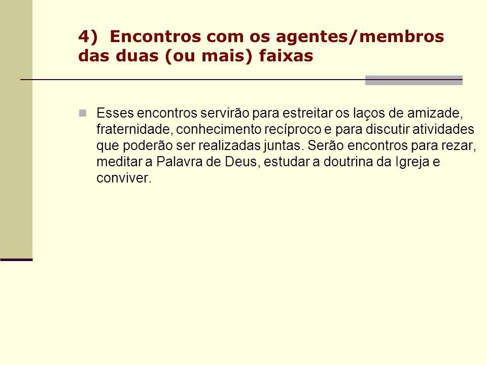 4) Encontros com os agentes/membros das duas (ou mais) faixas Esses encontros servirão para estreitar os laços de amizade, fraternidade, conhecimento