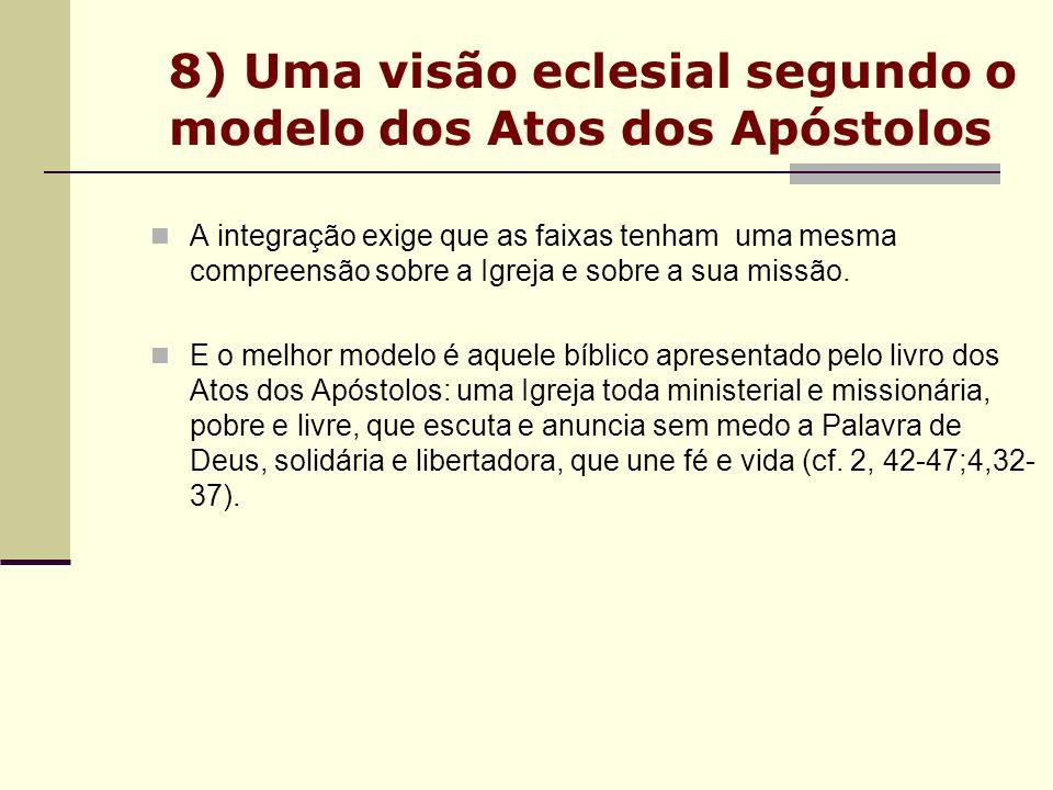 8) Uma visão eclesial segundo o modelo dos Atos dos Apóstolos A integração exige que as faixas tenham uma mesma compreensão sobre a Igreja e sobre a s