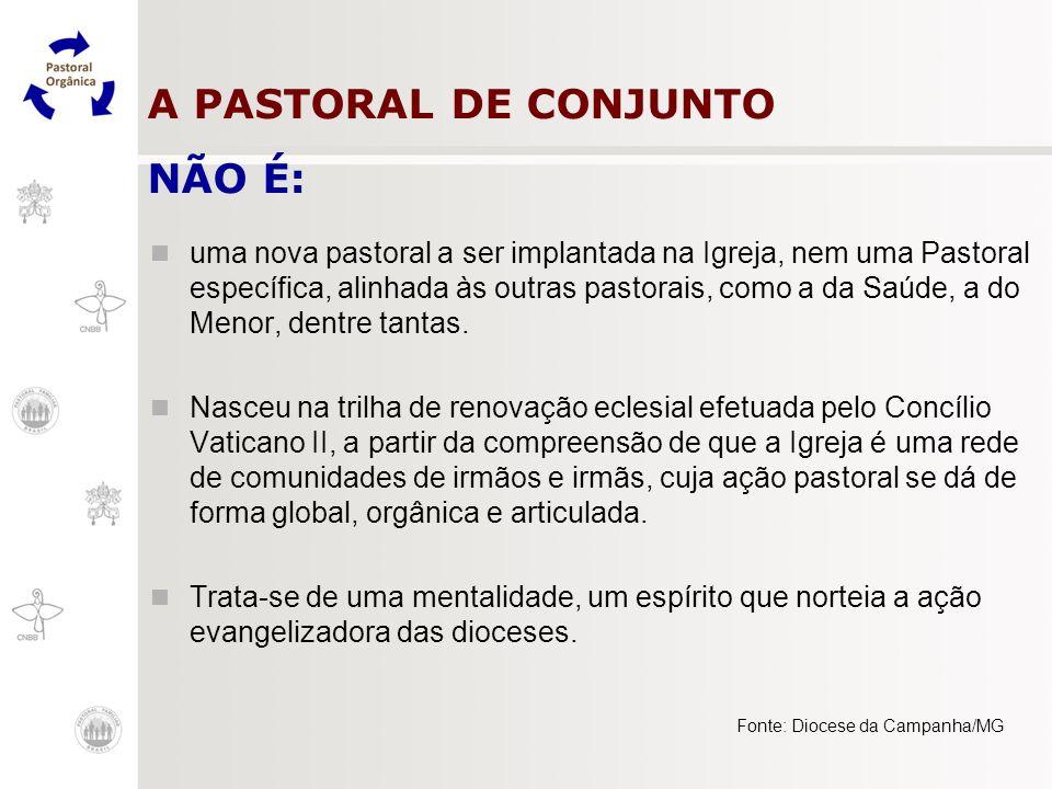 A PASTORAL DE CONJUNTO NÃO É: uma nova pastoral a ser implantada na Igreja, nem uma Pastoral específica, alinhada às outras pastorais, como a da Saúde