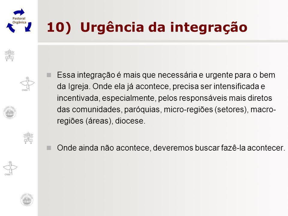 10) Urgência da integração Essa integração é mais que necessária e urgente para o bem da Igreja. Onde ela já acontece, precisa ser intensificada e inc