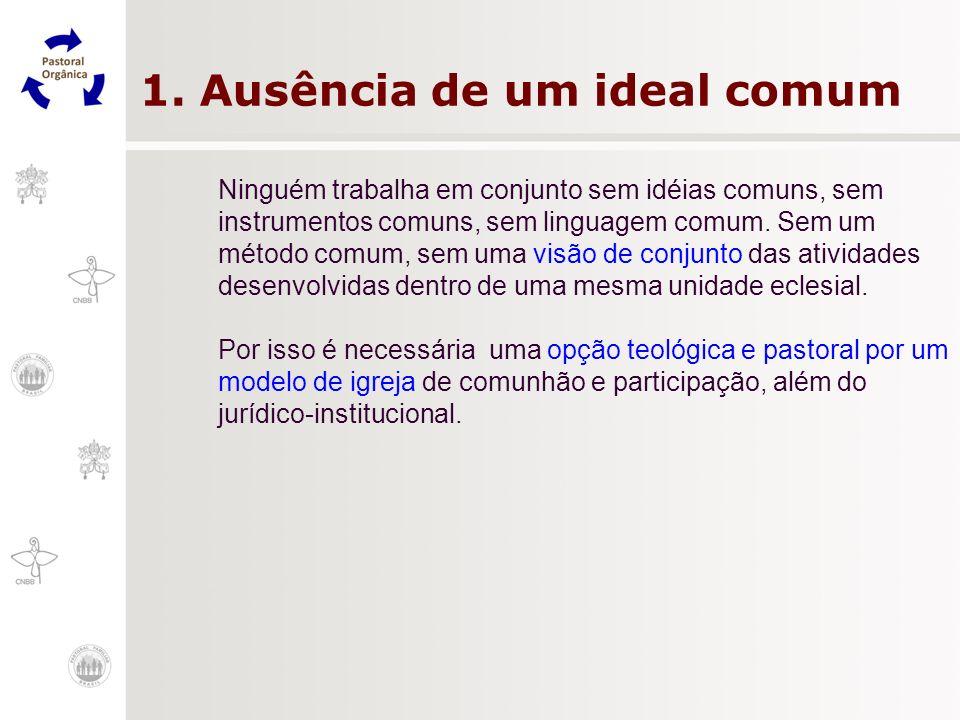 1. Ausência de um ideal comum Ninguém trabalha em conjunto sem idéias comuns, sem instrumentos comuns, sem linguagem comum. Sem um método comum, sem u