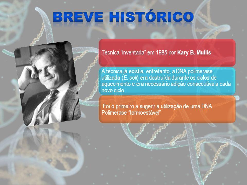 Técnica inventada em 1985 por Kary B. Mullis A técnica já existia, entretanto, a DNA polimerase utilizada ( E. coli ) era destruída durante os ciclos