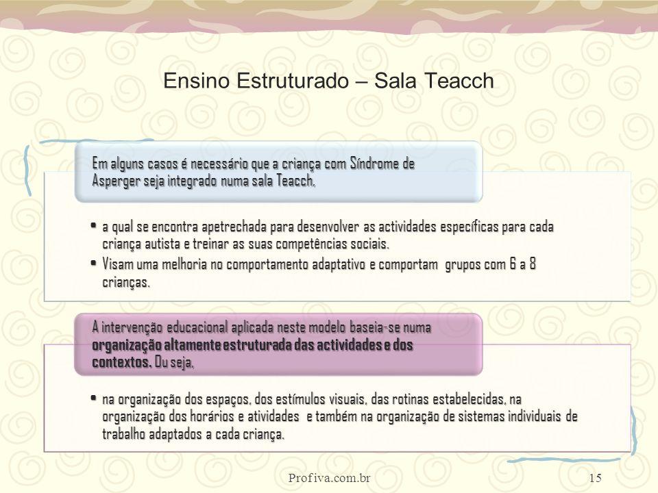 Ensino Estruturado – Sala Teacch a qual se encontra apetrechada para desenvolver as actividades específicas para cada criança autista e treinar as sua