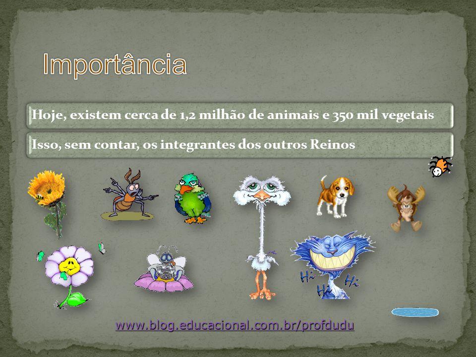 www.blog.educacional.com.br/profdudu Hoje, existem cerca de 1,2 milhão de animais e 350 mil vegetaisIsso, sem contar, os integrantes dos outros Reinos