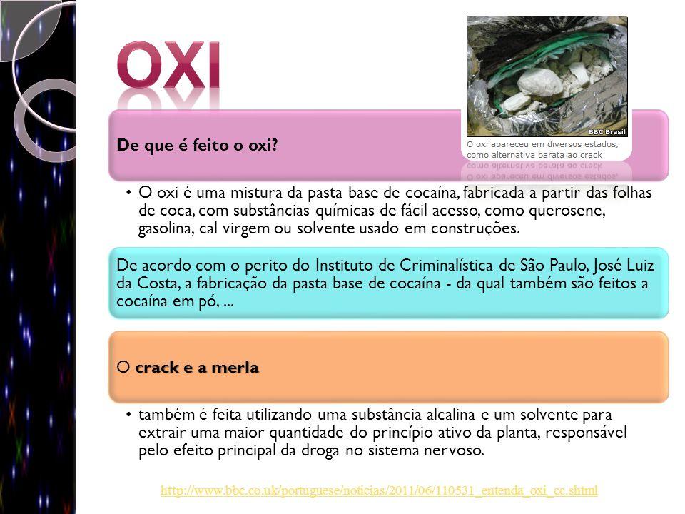 De que é feito o oxi? O oxi é uma mistura da pasta base de cocaína, fabricada a partir das folhas de coca, com substâncias químicas de fácil acesso, c