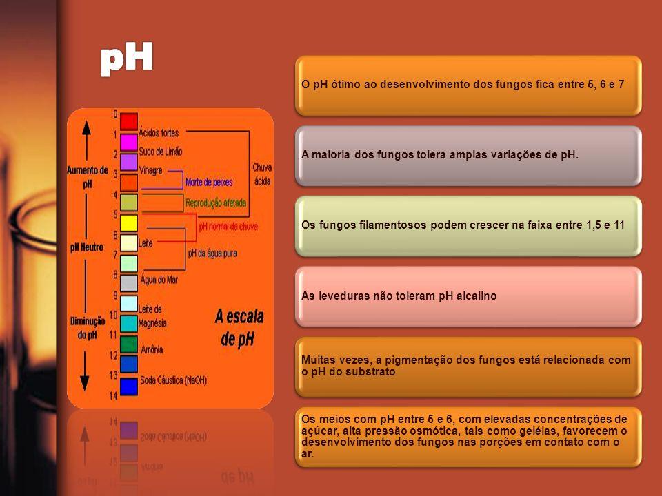 O pH ótimo ao desenvolvimento dos fungos fica entre 5, 6 e 7A maioria dos fungos tolera amplas variações de pH.Os fungos filamentosos podem crescer na