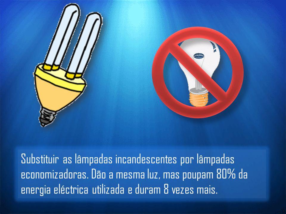 Substituir as lâmpadas incandescentes por lâmpadas economizadoras.