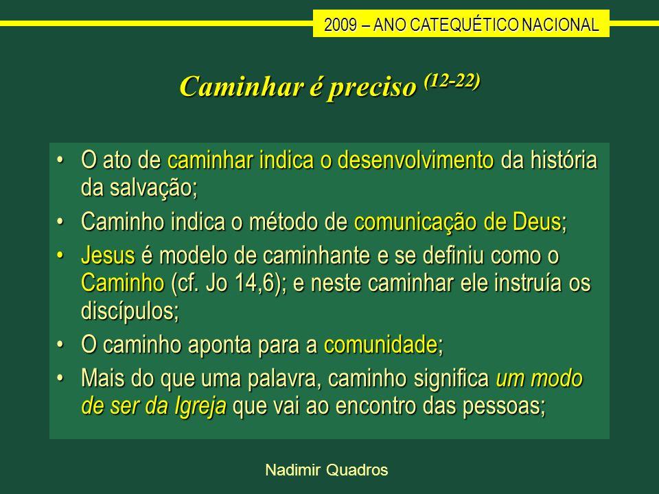 2009 – ANO CATEQUÉTICO NACIONAL Nadimir Quadros Caminhar é preciso (12-22) O ato de caminhar indica o desenvolvimento da história da salvação;O ato de