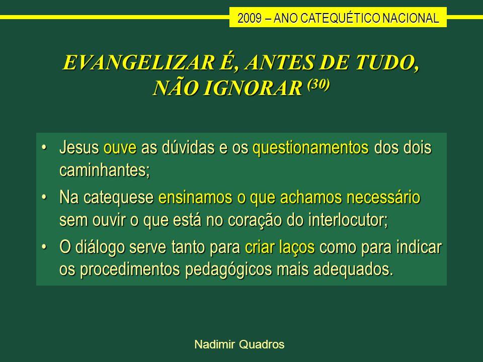 2009 – ANO CATEQUÉTICO NACIONAL Nadimir Quadros EVANGELIZAR É, ANTES DE TUDO, NÃO IGNORAR (30) Jesus ouve as dúvidas e os questionamentos dos dois cam