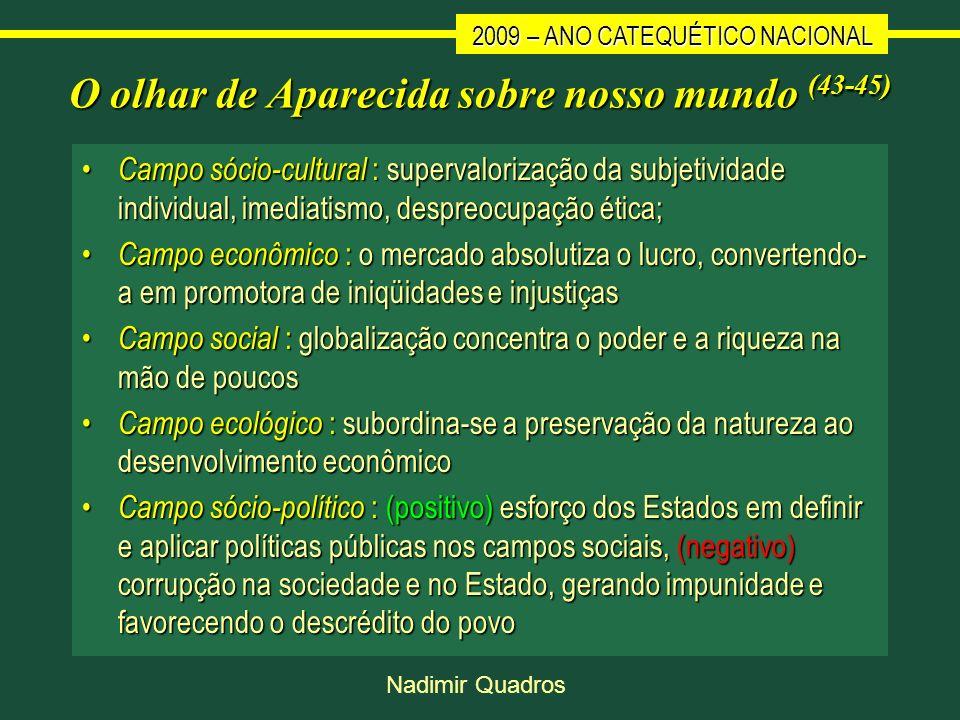 2009 – ANO CATEQUÉTICO NACIONAL Nadimir Quadros O olhar de Aparecida sobre nosso mundo (43-45) Campo sócio-cultural : supervalorização da subjetividad