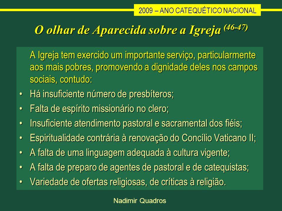 2009 – ANO CATEQUÉTICO NACIONAL Nadimir Quadros O olhar de Aparecida sobre a Igreja (46-47) A Igreja tem exercido um importante serviço, particularmen