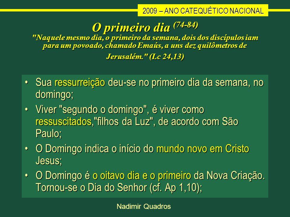 2009 – ANO CATEQUÉTICO NACIONAL Nadimir Quadros O primeiro dia (74-84)