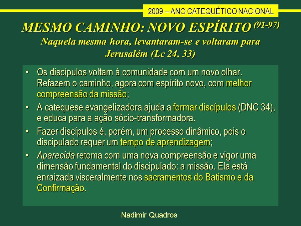 2009 – ANO CATEQUÉTICO NACIONAL Nadimir Quadros MESMO CAMINHO: NOVO ESPÍRITO (91-97) Naquela mesma hora, levantaram-se e voltaram para Jerusalém (Lc 2