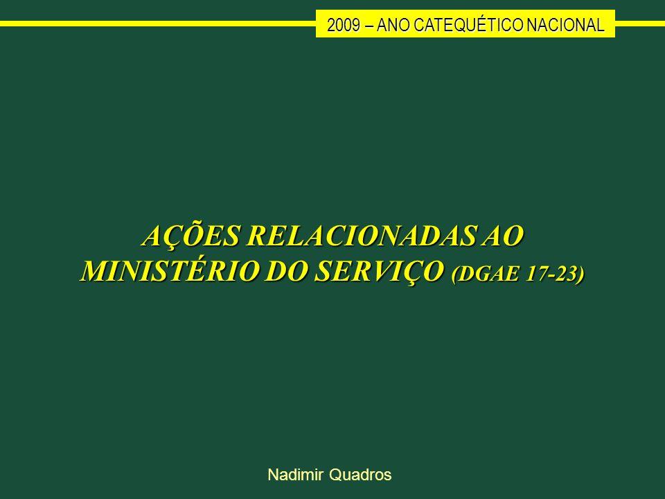 2009 – ANO CATEQUÉTICO NACIONAL Nadimir Quadros AÇÕES RELACIONADAS AO MINISTÉRIO DO SERVIÇO (DGAE 17-23)