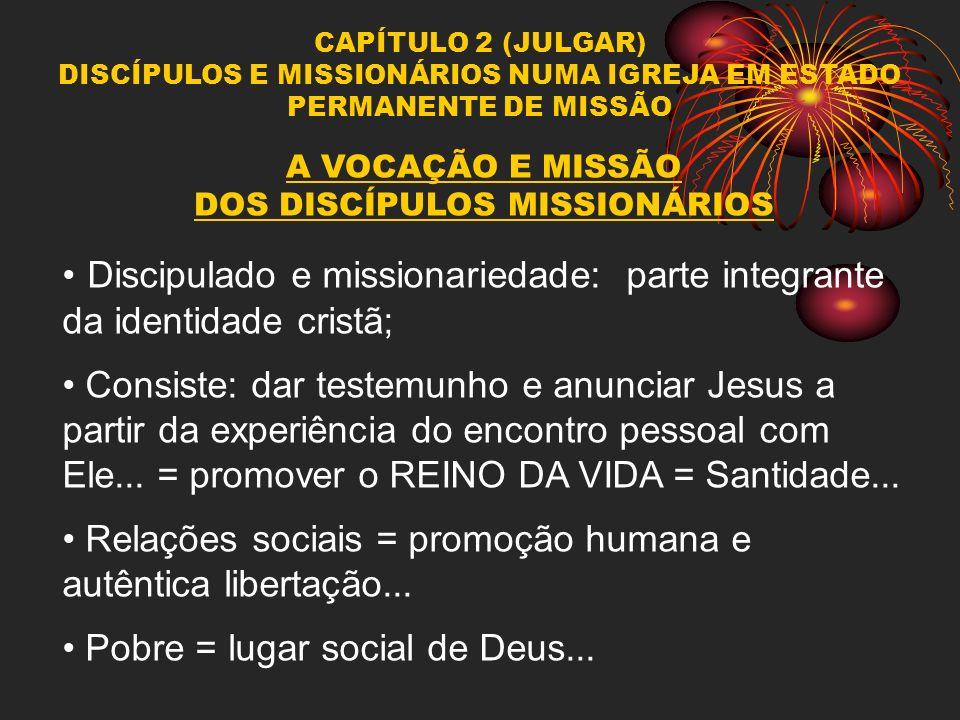 CAPÍTULO 2 (JULGAR) DISCÍPULOS E MISSIONÁRIOS NUMA IGREJA EM ESTADO PERMANENTE DE MISSÃO A VOCAÇÃO E MISSÃO DOS DISCÍPULOS MISSIONÁRIOS Discipulado e