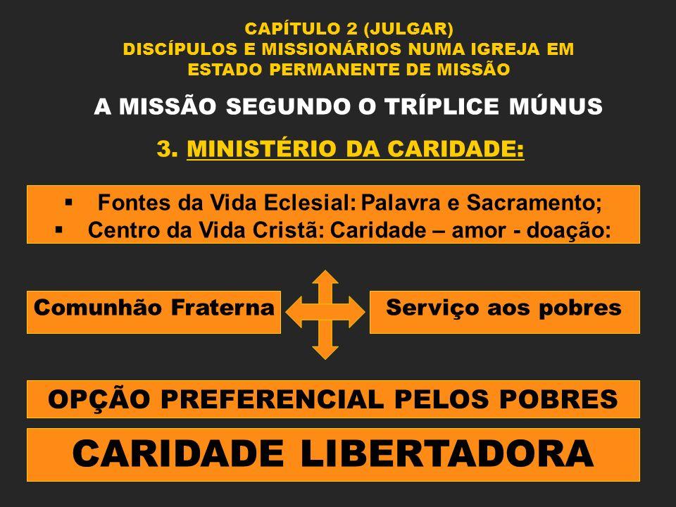 CAPÍTULO 2 (JULGAR) DISCÍPULOS E MISSIONÁRIOS NUMA IGREJA EM ESTADO PERMANENTE DE MISSÃO A MISSÃO SEGUNDO O TRÍPLICE MÚNUS 3. MINISTÉRIO DA CARIDADE: