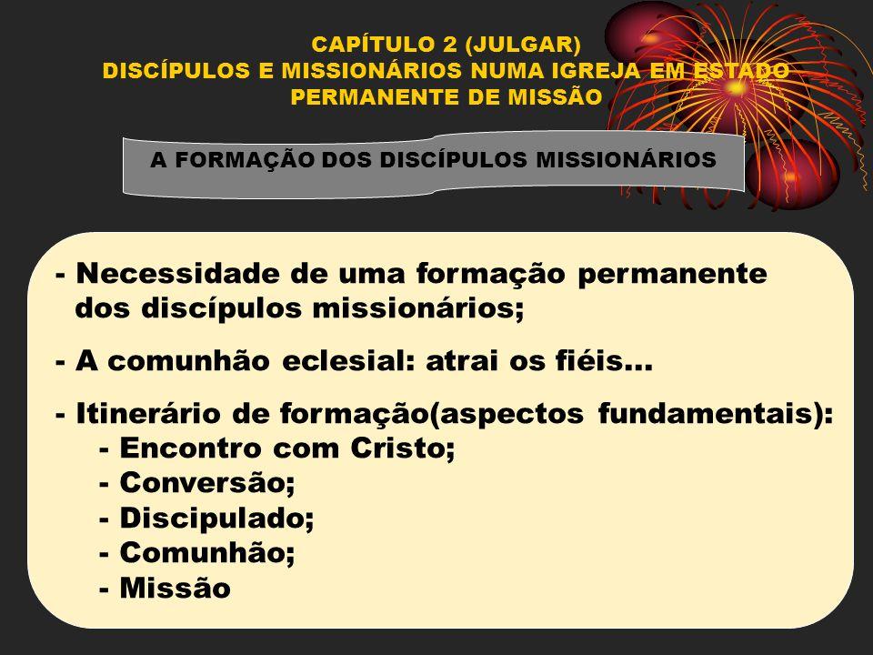 CAPÍTULO 2 (JULGAR) DISCÍPULOS E MISSIONÁRIOS NUMA IGREJA EM ESTADO PERMANENTE DE MISSÃO A FORMAÇÃO DOS DISCÍPULOS MISSIONÁRIOS - Necessidade de uma f
