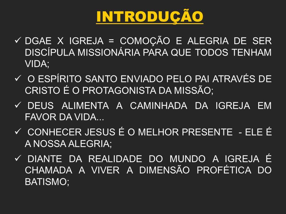 INTRODUÇÃO CONTEUDO CENTRAL DA MISSÃO: LEVAR VIDA PLENA A TODAS AS PESSOAS...; EVANGELIZAÇÃO: TAREFA DE TODOS OS FIÉIS(DISCÍPULOS MISSIONÁRIOS DE CRISTO); EVANGELIZAÇÃO = PARTE DA EXPERIÊNCIA DO ENCONTRO PESSOAL COM JESUS CRISTO; DIOCESE = COMUNIDADE MISSIONÁRIA...