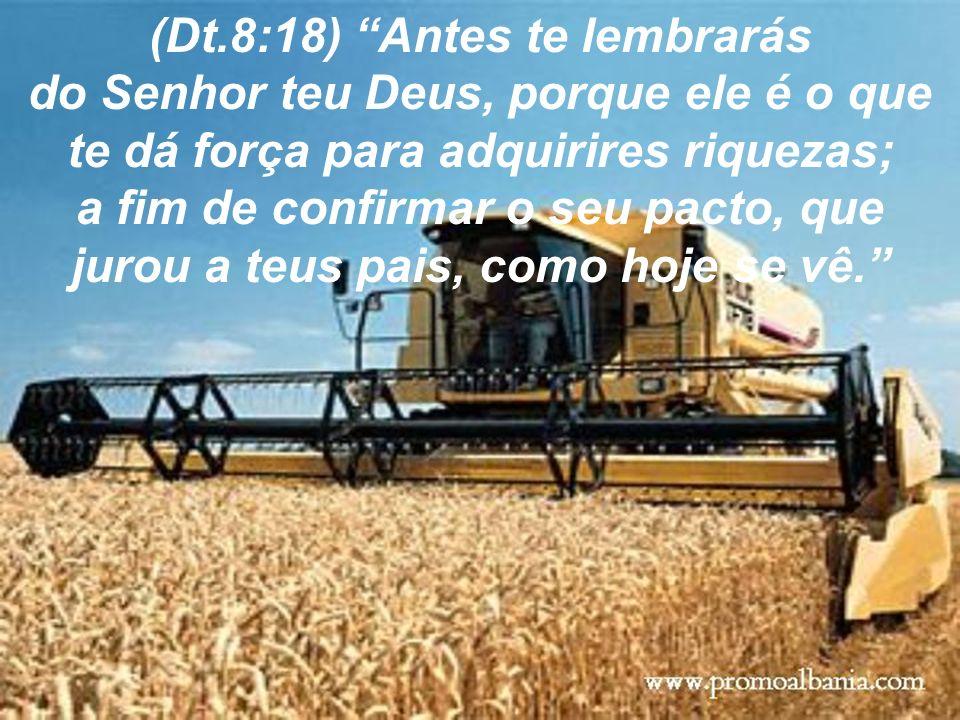 (Dt.8:18) Antes te lembrarás do Senhor teu Deus, porque ele é o que te dá força para adquirires riquezas; a fim de confirmar o seu pacto, que jurou a